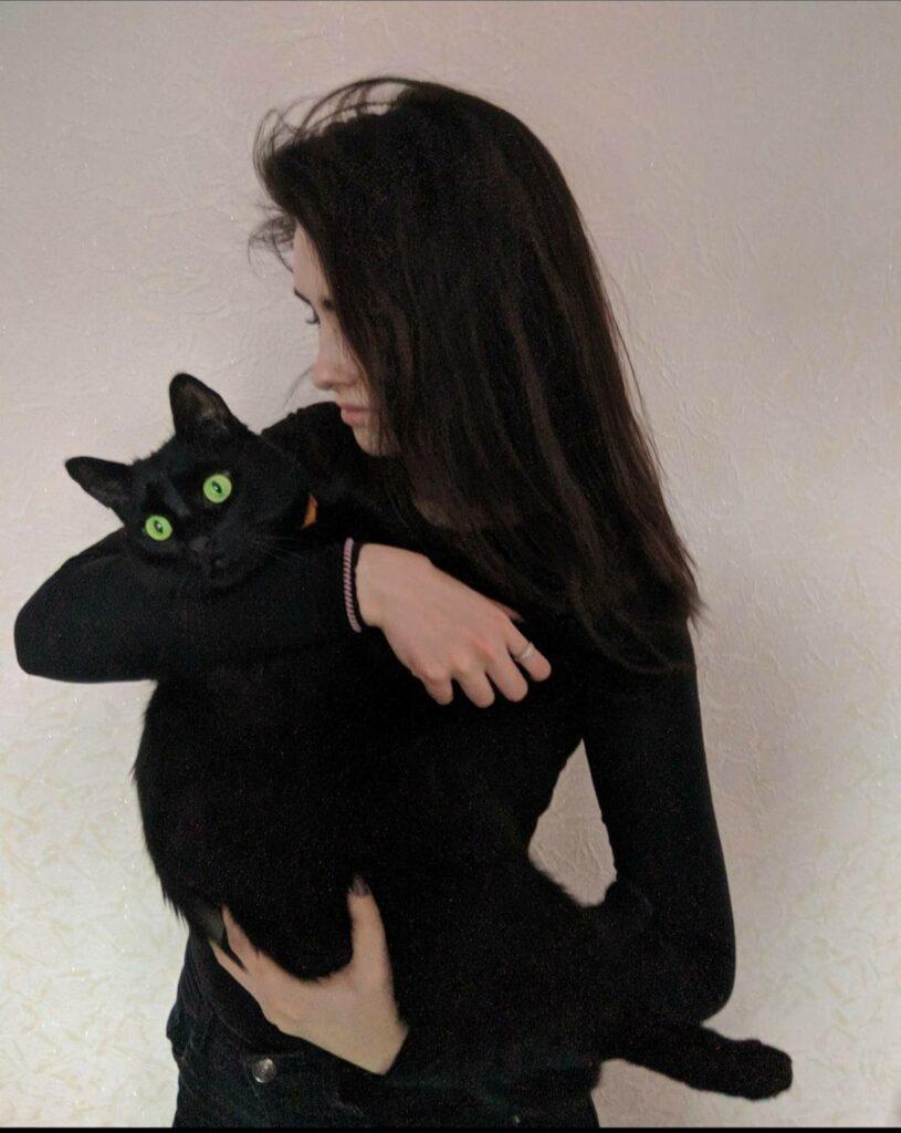 Anastasiia with cat